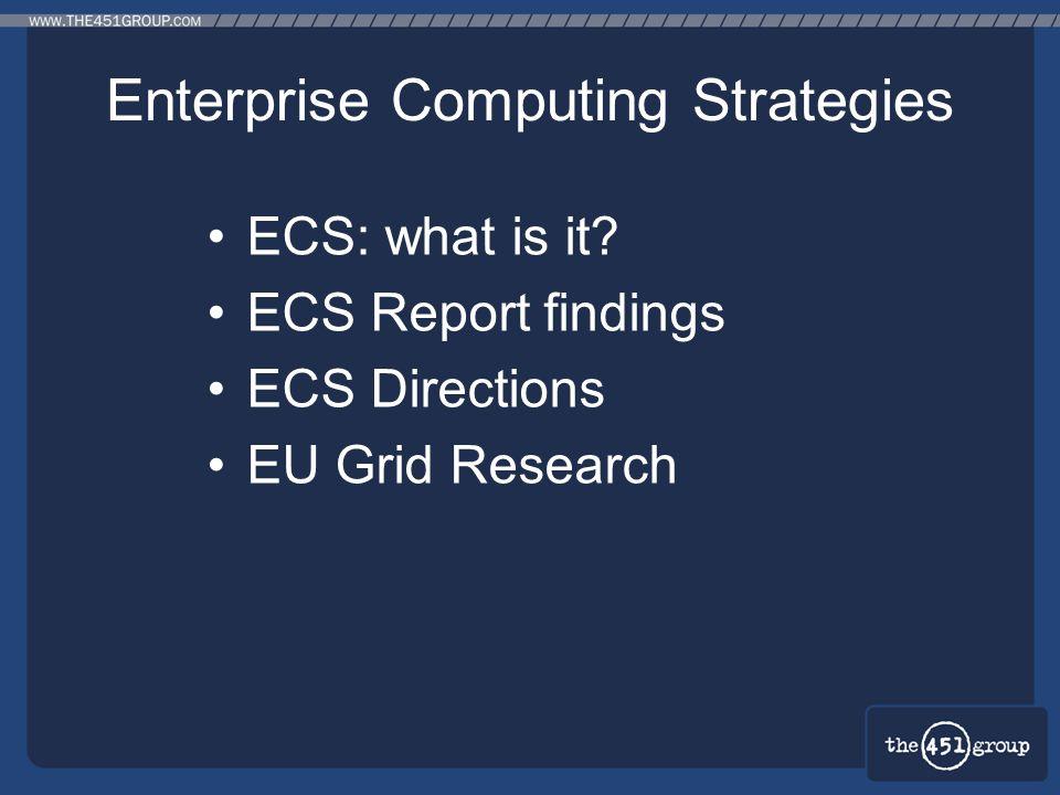 Enterprise Computing Strategies ECS: what is it? ECS Report findings ECS Directions EU Grid Research