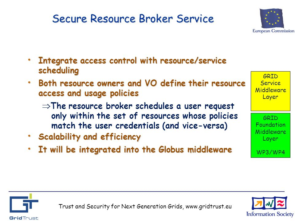 Trust and Security for Next Generation Grids, www.gridtrust.eu Secure Resource Broker Service Integrate access control with resource/service scheduling Integrate access control with resource/service scheduling Both resource owners and VO define their resource access and usage policies Both resource owners and VO define their resource access and usage policies The resource broker schedules a user request only within the set of resources whose policies match the user credentials (and vice-versa) Scalability and efficiency Scalability and efficiency It will be integrated into the Globus middleware It will be integrated into the Globus middleware GRID Service Middleware Layer GRID Foundation Middleware Layer WP3/WP4