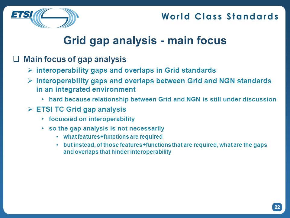 22 Grid gap analysis - main focus Main focus of gap analysis interoperability gaps and overlaps in Grid standards interoperability gaps and overlaps b