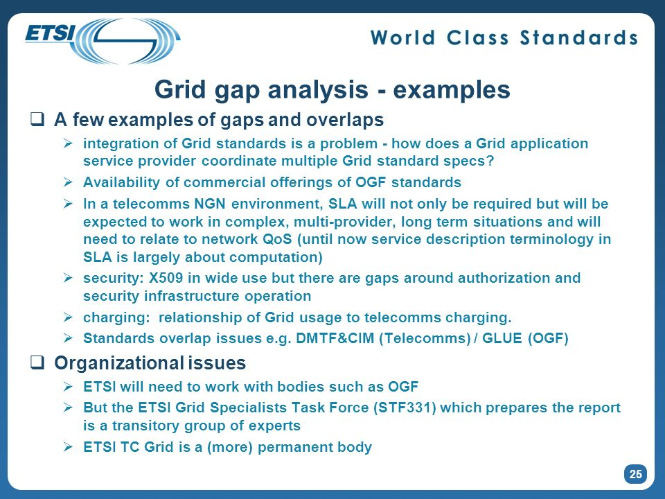 25 Grid gap analysis - examples A few examples of gaps and overlaps integration of Grid standards is a problem - how does a Grid application service p