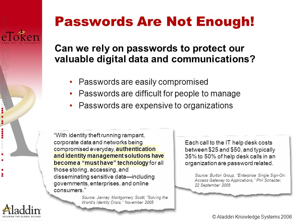 © Aladdin Knowledge Systems 2006 Passwords Are Not Enough! Passwords are easily compromised Passwords are difficult for people to manage Passwords are