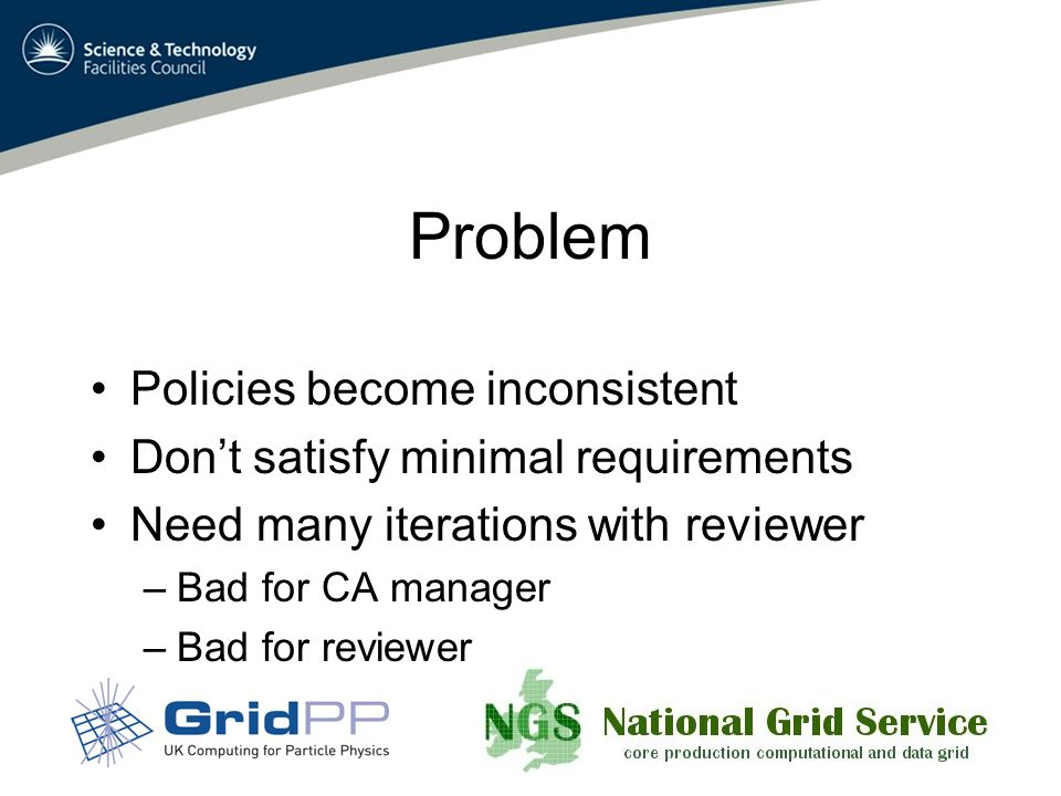 Problem Policies become inconsistent Dont satisfy minimal requirements Need many iterations with reviewer –Bad for CA manager –Bad for reviewer
