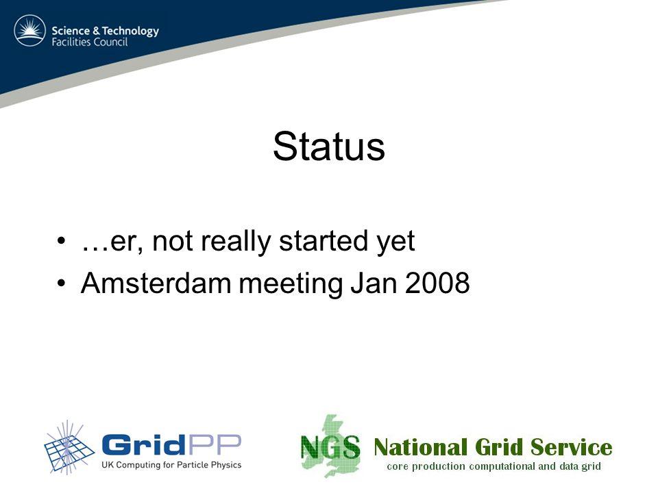 Status …er, not really started yet Amsterdam meeting Jan 2008
