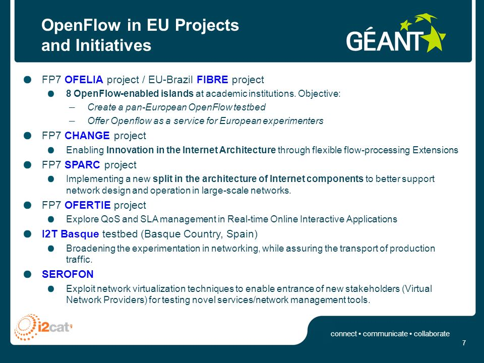 connect communicate collaborate GN3 OpenFlow PoP Use cases UC#1 Using OpenFlow as a TE mechanism to manage the backbone capacity, paths, etc.
