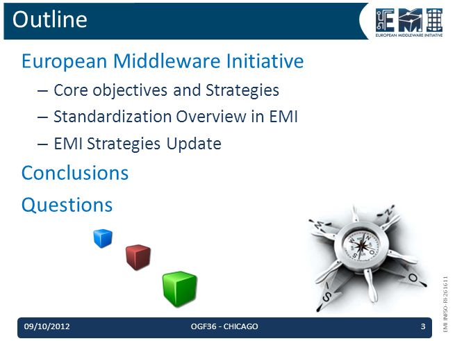 EMI INFSO-RI-261611 European Middleware Initiative – Core objectives and Strategies – Standardization Overview in EMI – EMI Strategies Update Conclusions Questions Outline 09/10/2012OGF36 - CHICAGO3