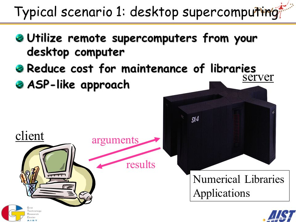 Typical scenario 1: desktop supercomputing Utilize remote supercomputers from your desktop computer Reduce cost for maintenance of libraries ASP-like approach Numerical Libraries Applications client server arguments results
