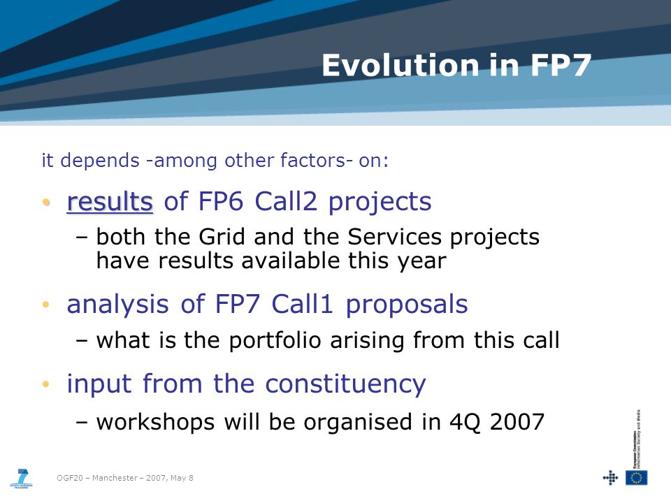 OGF20 – Manchester – 2007, May 8 Evolution in FP7 it depends -among other factors- on: results results of FP6 Call2 projects –both the Grid and the Services projects have results available this year analysis of FP7 Call1 proposals –what is the portfolio arising from this call input from the constituency –workshops will be organised in 4Q 2007