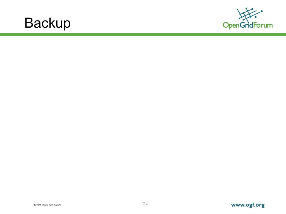 © 2007 Open Grid Forum 24 Backup
