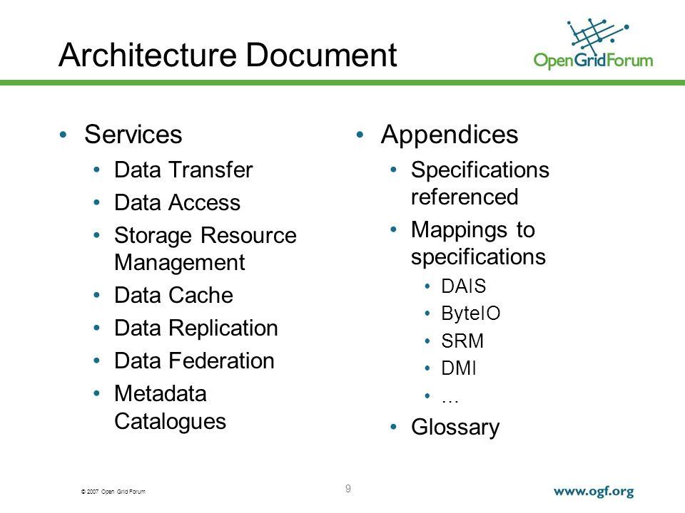 © 2007 Open Grid Forum 9 Architecture Document Services Data Transfer Data Access Storage Resource Management Data Cache Data Replication Data Federat