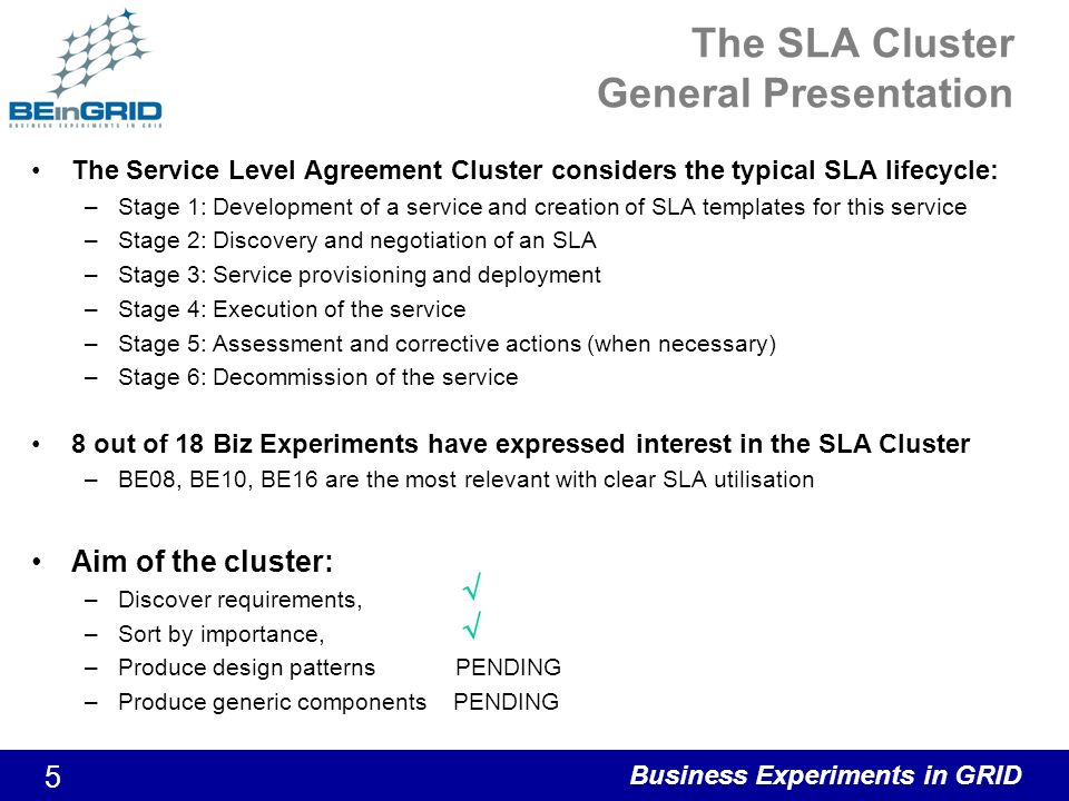 Business Experiments in GRID 5 The SLA Cluster General Presentation The Service Level Agreement Cluster considers the typical SLA lifecycle: –Stage 1: Development of a service and creation of SLA templates for this service –Stage 2: Discovery and negotiation of an SLA –Stage 3: Service provisioning and deployment –Stage 4: Execution of the service –Stage 5: Assessment and corrective actions (when necessary) –Stage 6: Decommission of the service 8 out of 18 Biz Experiments have expressed interest in the SLA Cluster –BE08, BE10, BE16 are the most relevant with clear SLA utilisation Aim of the cluster: –Discover requirements, –Sort by importance, –Produce design patterns PENDING –Produce generic components PENDING