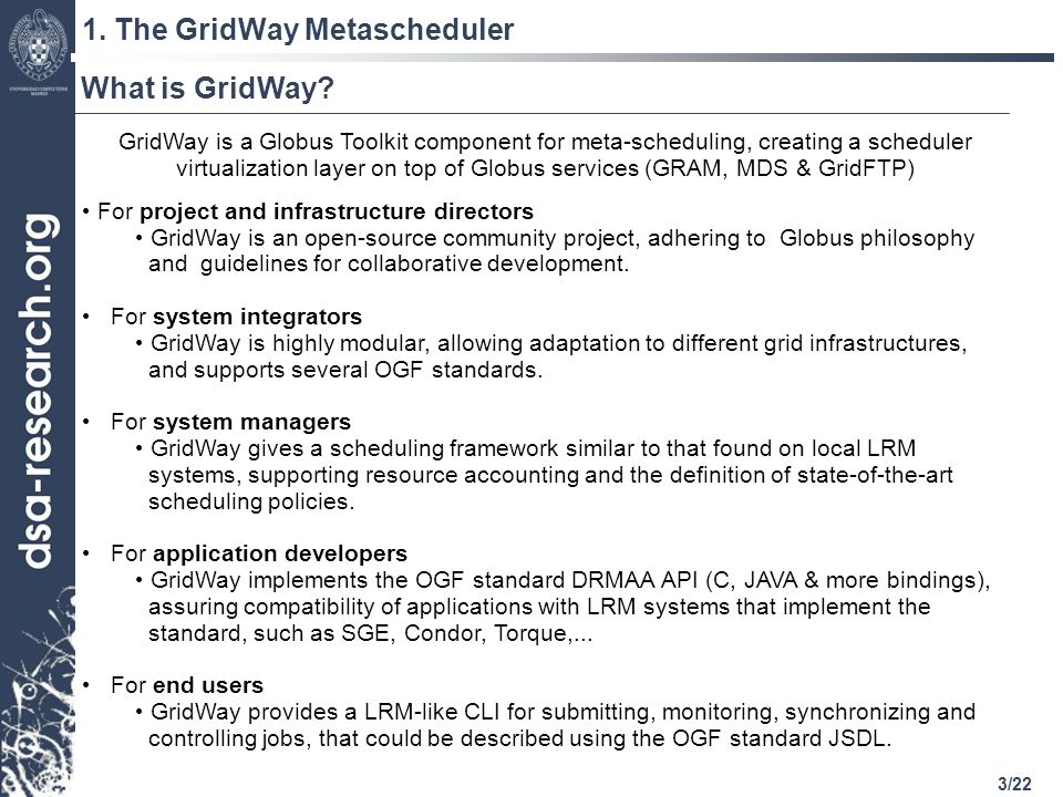 3/22 1. The GridWay Metascheduler What is GridWay.