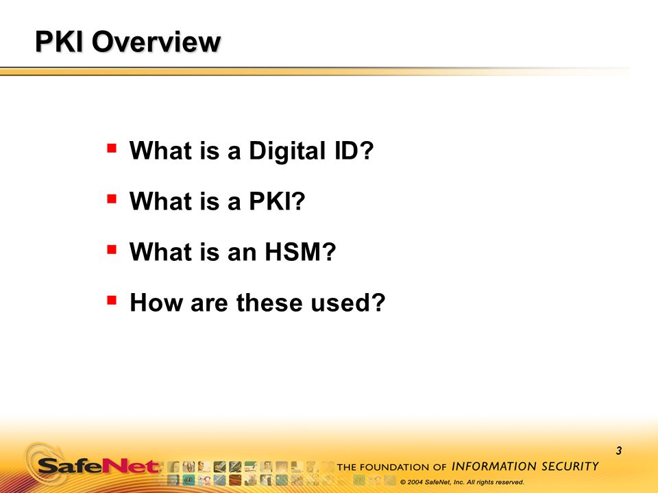 3 PKI Overview What is a Digital ID? What is a PKI? What is an HSM? How are these used?