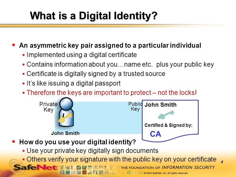 4 An asymmetric key pair assigned to a particular individual Implemented using a digital certificate Contains information about you…name etc. plus you