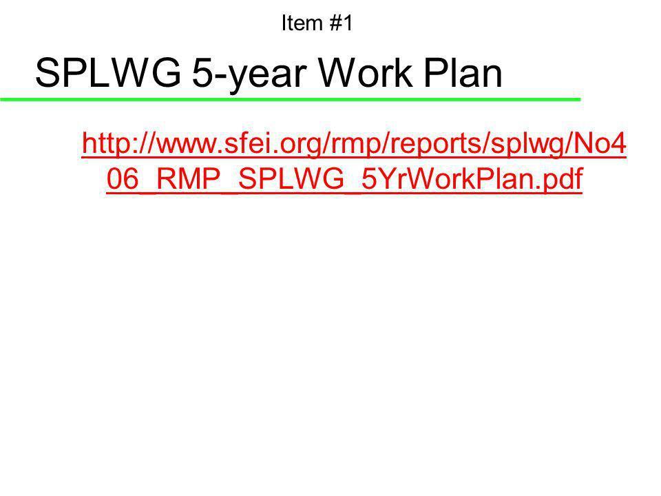 SPLWG 5-year Work Plan http://www.sfei.org/rmp/reports/splwg/No4 06_RMP_SPLWG_5YrWorkPlan.pdf Item #1