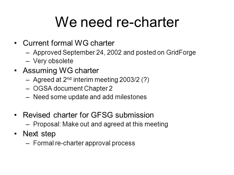 We need re-charter Current formal WG charter –Approved September 24, 2002 and posted on GridForge –Very obsolete Assuming WG charter –Agreed at 2 nd i