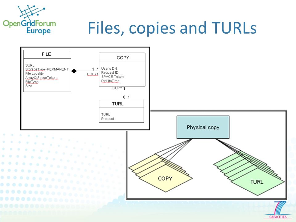 Files, copies and TURLs