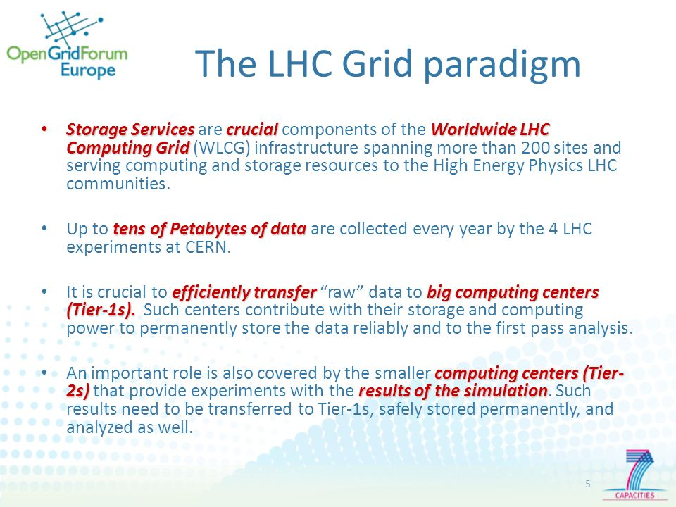 The LHC Grid paradigm 5 Storage Servicescrucial Worldwide LHC Computing Grid Storage Services are crucial components of the Worldwide LHC Computing Grid (WLCG) infrastructure spanning more than 200 sites and serving computing and storage resources to the High Energy Physics LHC communities.