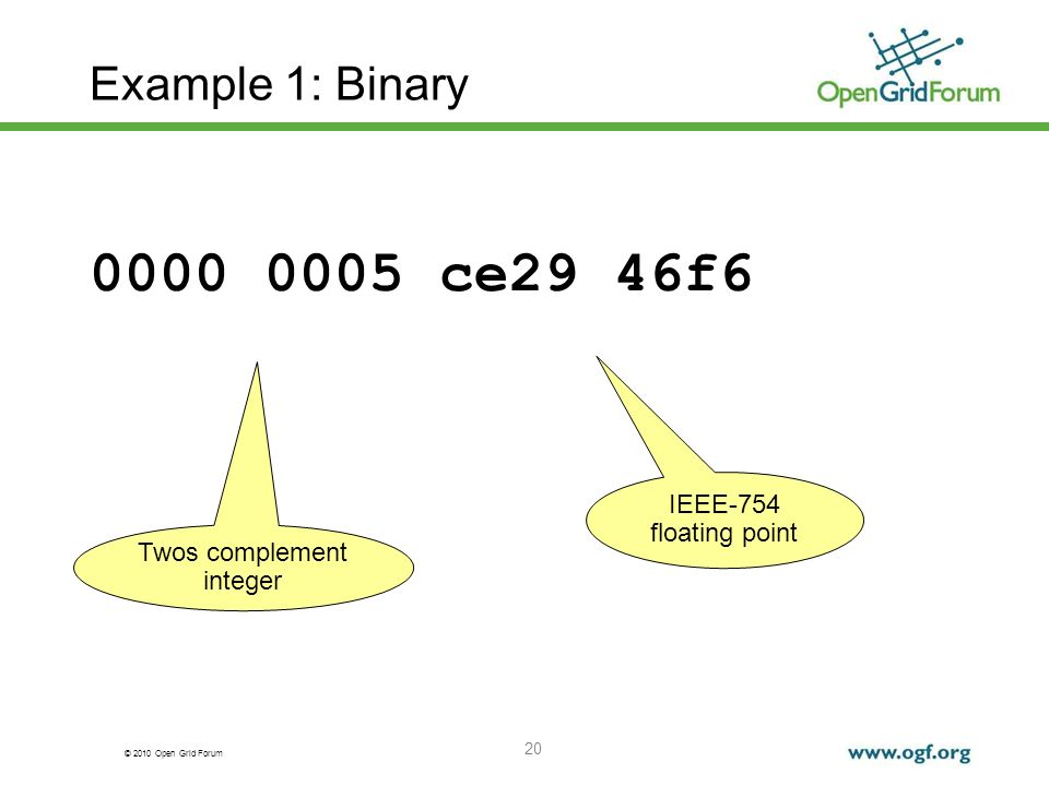 © 2010 Open Grid Forum 20 Example 1: Binary 0000 0005 ce29 46f6 IEEE-754 floating point Twos complement integer