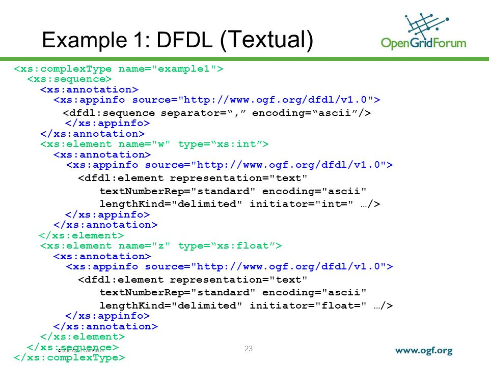 © 2010 Open Grid Forum 23 Example 1: DFDL (Textual) <dfdl:element representation=