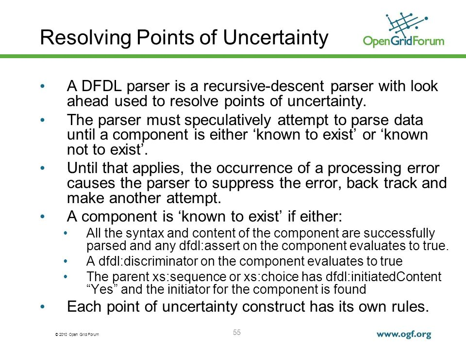 © 2010 Open Grid Forum 55 Resolving Points of Uncertainty A DFDL parser is a recursive-descent parser with look ahead used to resolve points of uncert