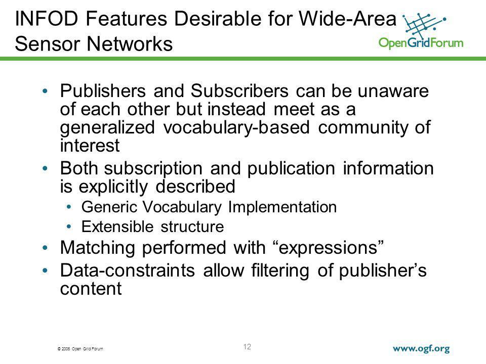 © 2006 Open Grid Forum 12 INFOD Features Desirable for Wide-Area Sensor Networks Publishers and Subscribers can be unaware of each other but instead m