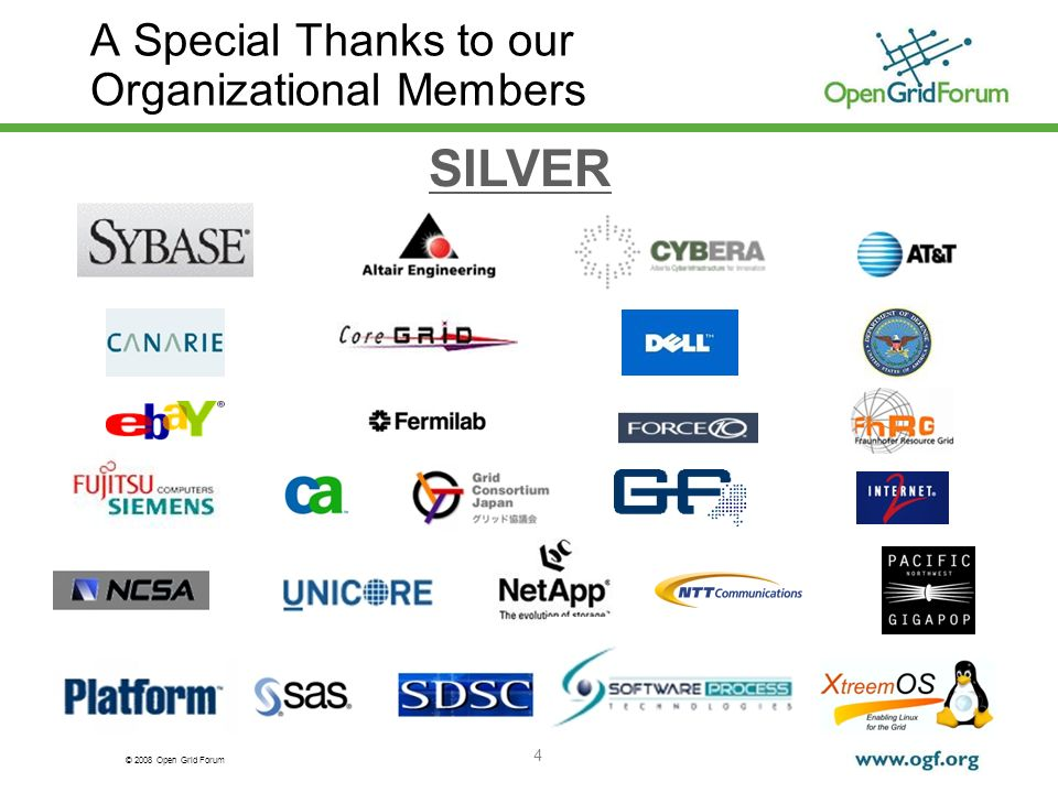© 2008 Open Grid Forum 4 A Special Thanks to our Organizational Members SILVER