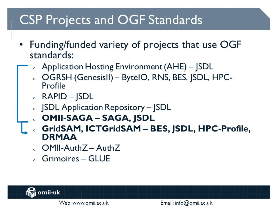 Web: www.omii.ac.uk Email: info@omii.ac.uk CSP Projects and OGF Standards Funding/funded variety of projects that use OGF standards: o Application Hosting Environment (AHE) – JSDL o OGRSH (GenesisII) – ByteIO, RNS, BES, JSDL, HPC- Profile o RAPID – JSDL o JSDL Application Repository – JSDL o OMII-SAGA – SAGA, JSDL o GridSAM, ICTGridSAM – BES, JSDL, HPC-Profile, DRMAA o OMII-AuthZ – AuthZ o Grimoires – GLUE