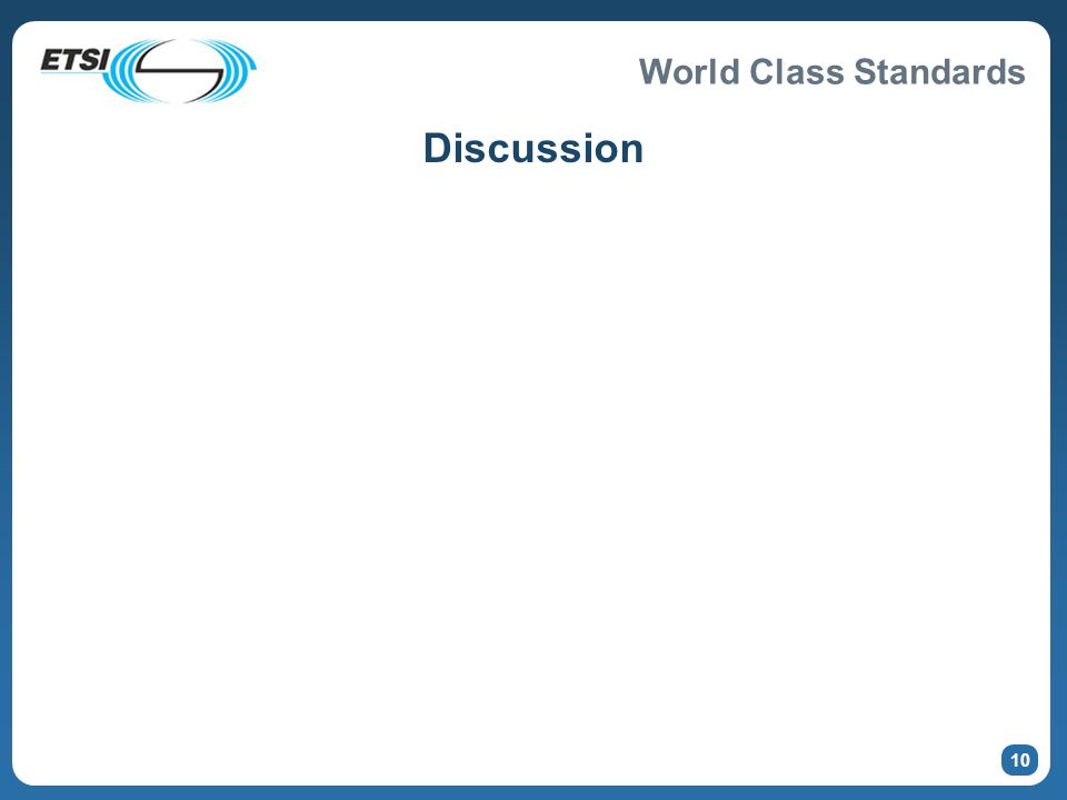 World Class Standards 10 Discussion