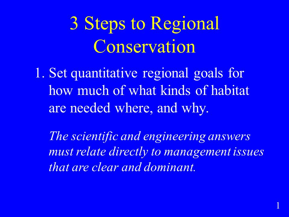 3 Steps to Regional Conservation 1.Set quantitative regional goals for how much of what kinds of habitat are needed where, and why.