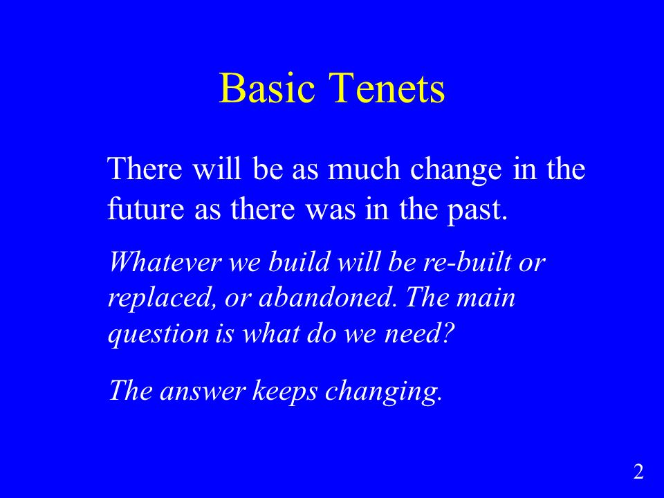 Basic Tenets There will be as much change in the future as there was in the past.