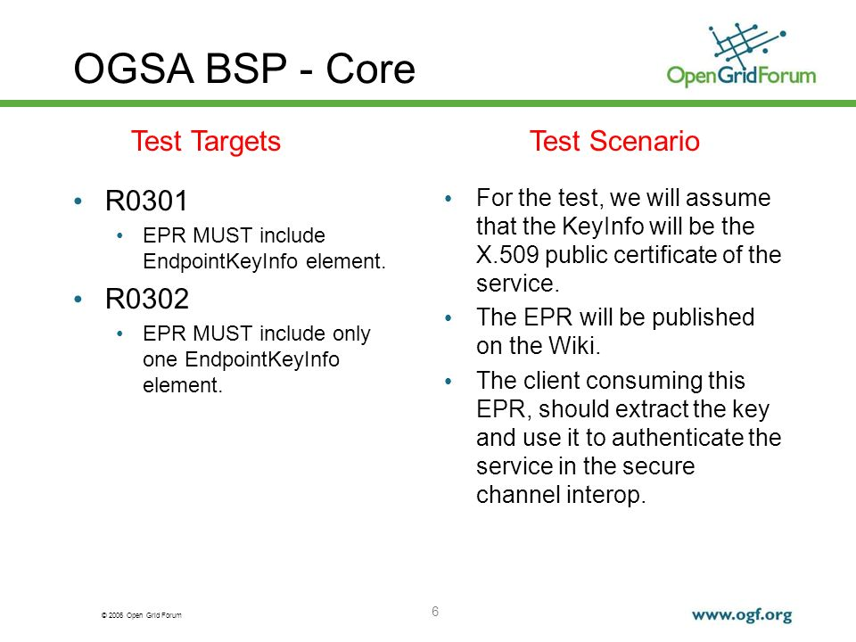 © 2006 Open Grid Forum 6 OGSA BSP - Core R0301 EPR MUST include EndpointKeyInfo element.
