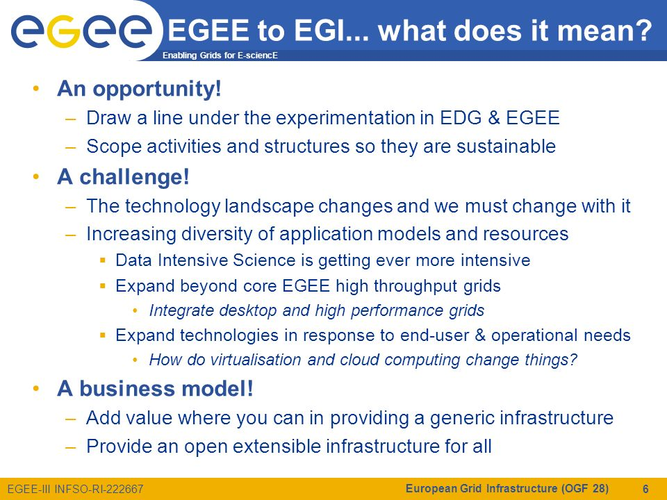 Enabling Grids for E-sciencE EGEE-III INFSO-RI-222667 EGEE to EGI...