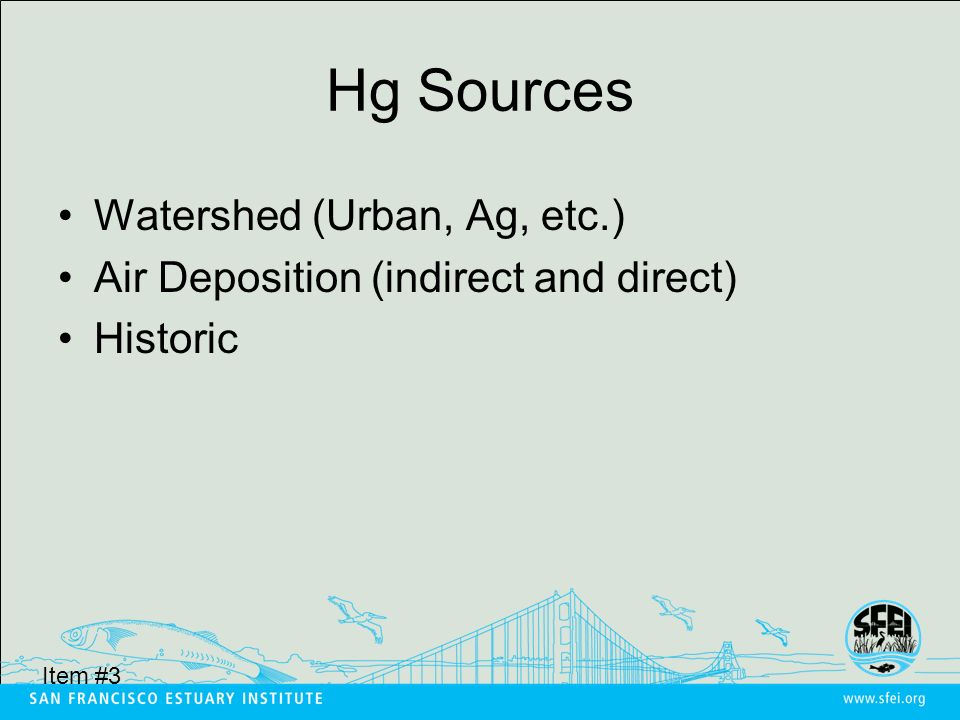 Hg Sources Watershed (Urban, Ag, etc.) Air Deposition (indirect and direct) Historic Item #3
