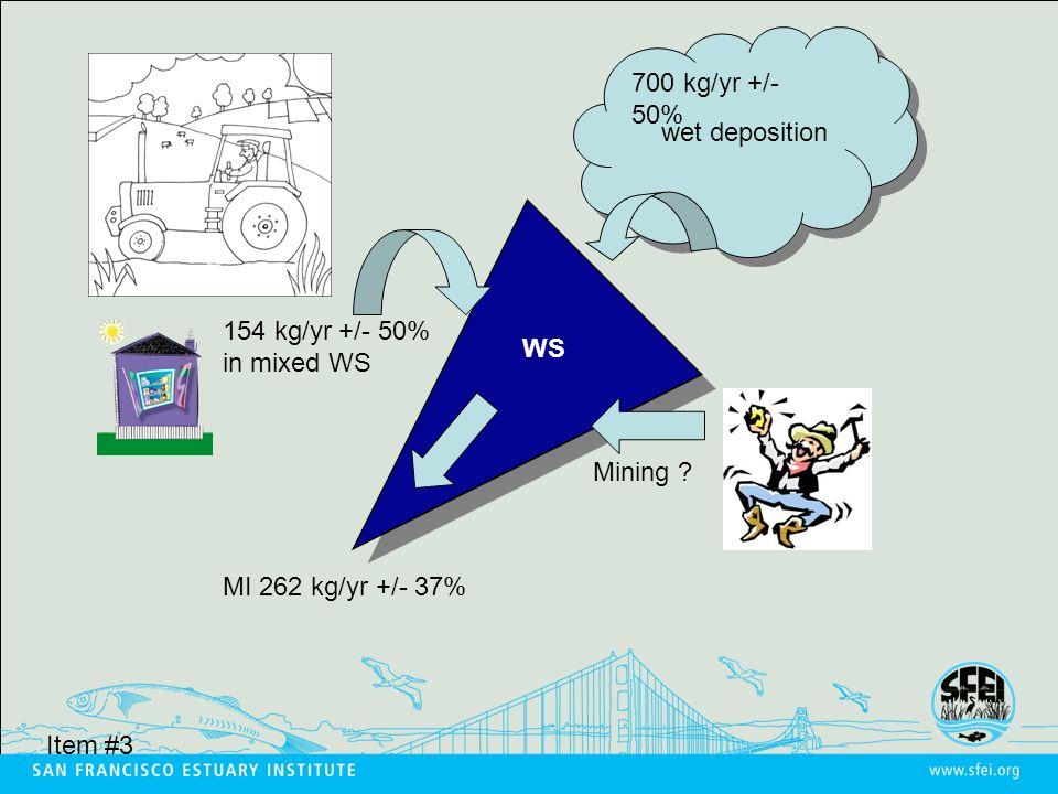 700 kg/yr +/- 50% wet deposition WS MI 262 kg/yr +/- 37% 154 kg/yr +/- 50% in mixed WS Mining .