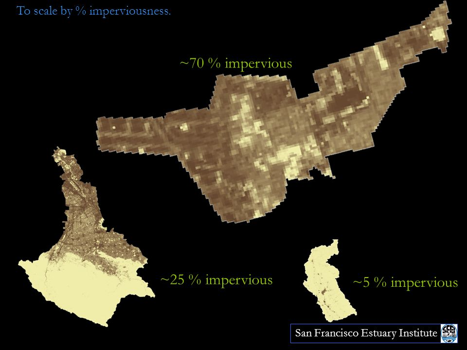 4 ~5 % impervious ~70 % impervious ~25 % impervious To scale by % imperviousness.