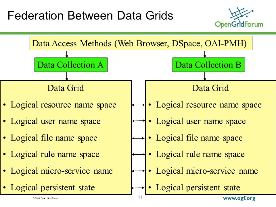 © 2006 Open Grid Forum 11 Federation Between Data Grids Data Grid Logical resource name space Logical user name space Logical file name space Logical