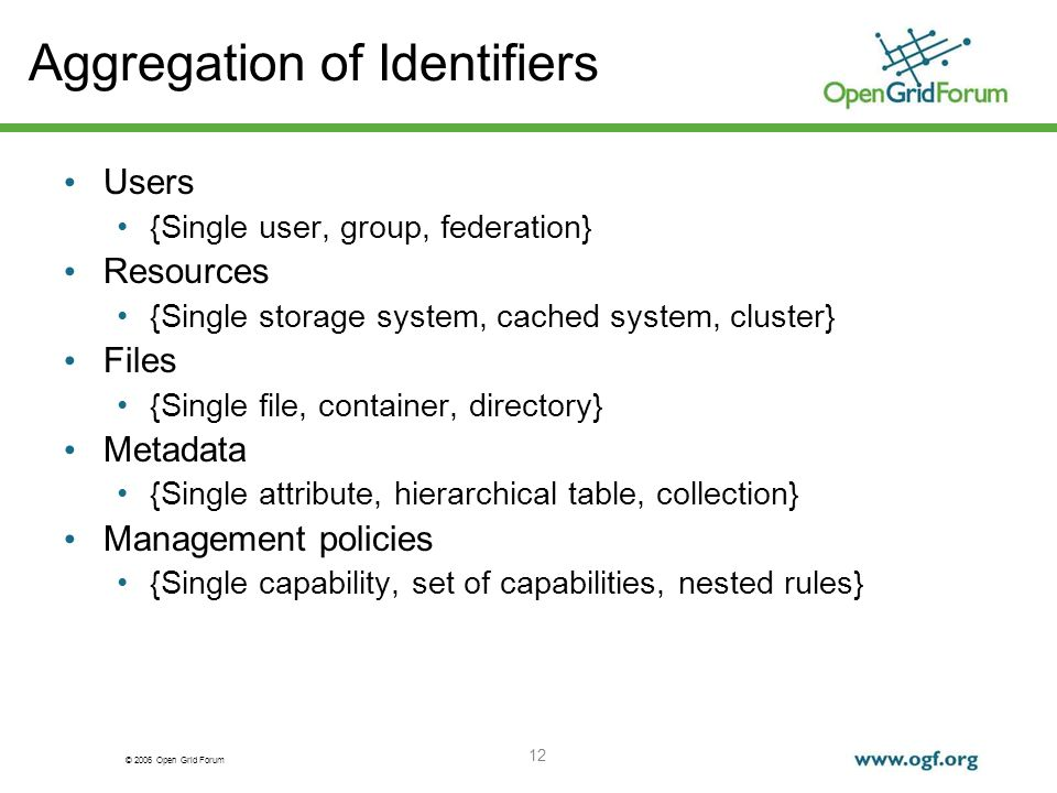© 2006 Open Grid Forum 12 Aggregation of Identifiers Users {Single user, group, federation} Resources {Single storage system, cached system, cluster}