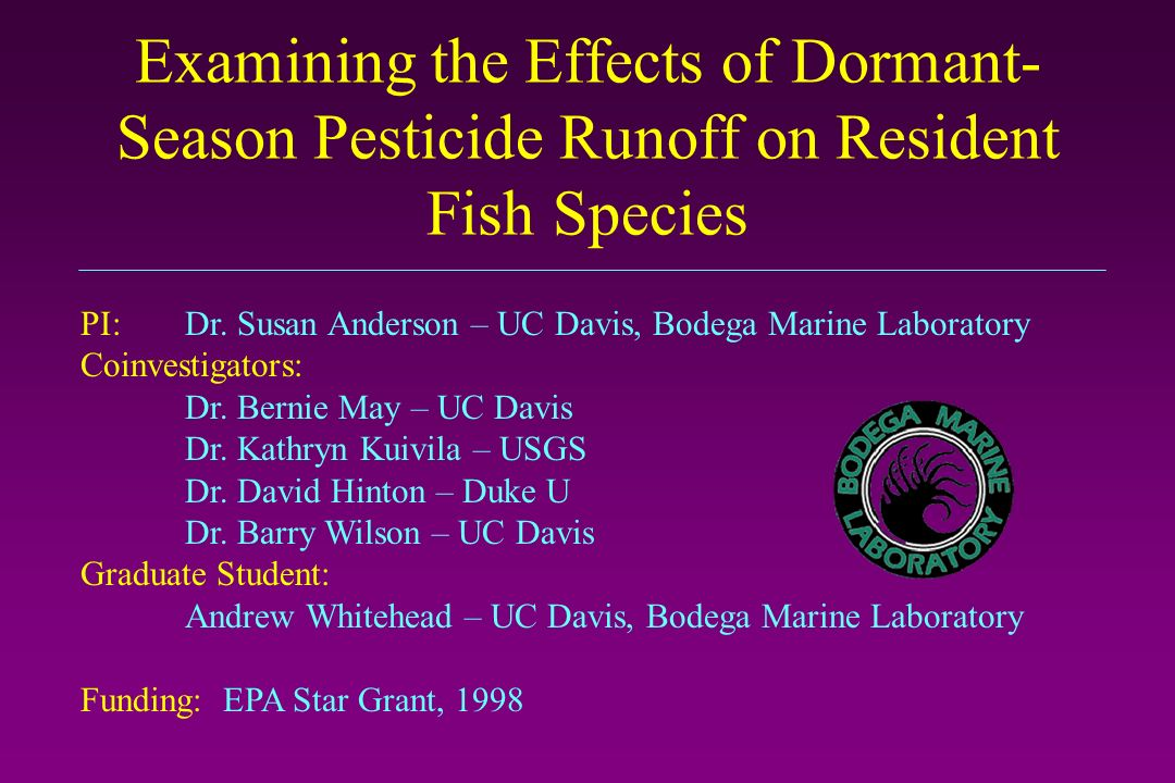 Project Goals: Overall: Examine biological effects of landscape-scale pesticide contamination on native fish at the individual and population levels.