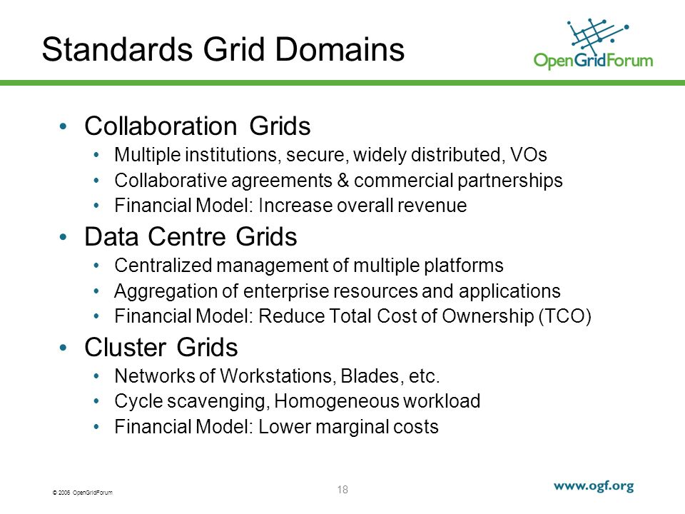 © 2006 OpenGridForum 18 Standards Grid Domains Collaboration Grids Multiple institutions, secure, widely distributed, VOs Collaborative agreements & commercial partnerships Financial Model: Increase overall revenue Data Centre Grids Centralized management of multiple platforms Aggregation of enterprise resources and applications Financial Model: Reduce Total Cost of Ownership (TCO) Cluster Grids Networks of Workstations, Blades, etc.