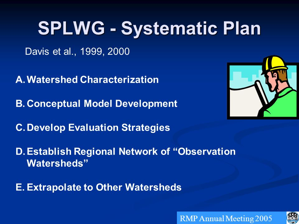 SPLWG - Systematic Plan A.Watershed Characterization B.Conceptual Model Development C.Develop Evaluation Strategies D.Establish Regional Network of Observation Watersheds E.Extrapolate to Other Watersheds RMP Annual Meeting 2005 Davis et al., 1999, 2000