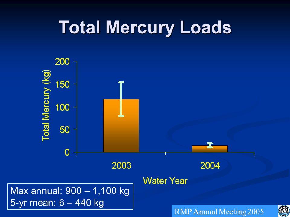 Total Mercury Loads RMP Annual Meeting 2005 Max annual: 900 – 1,100 kg 5-yr mean: 6 – 440 kg