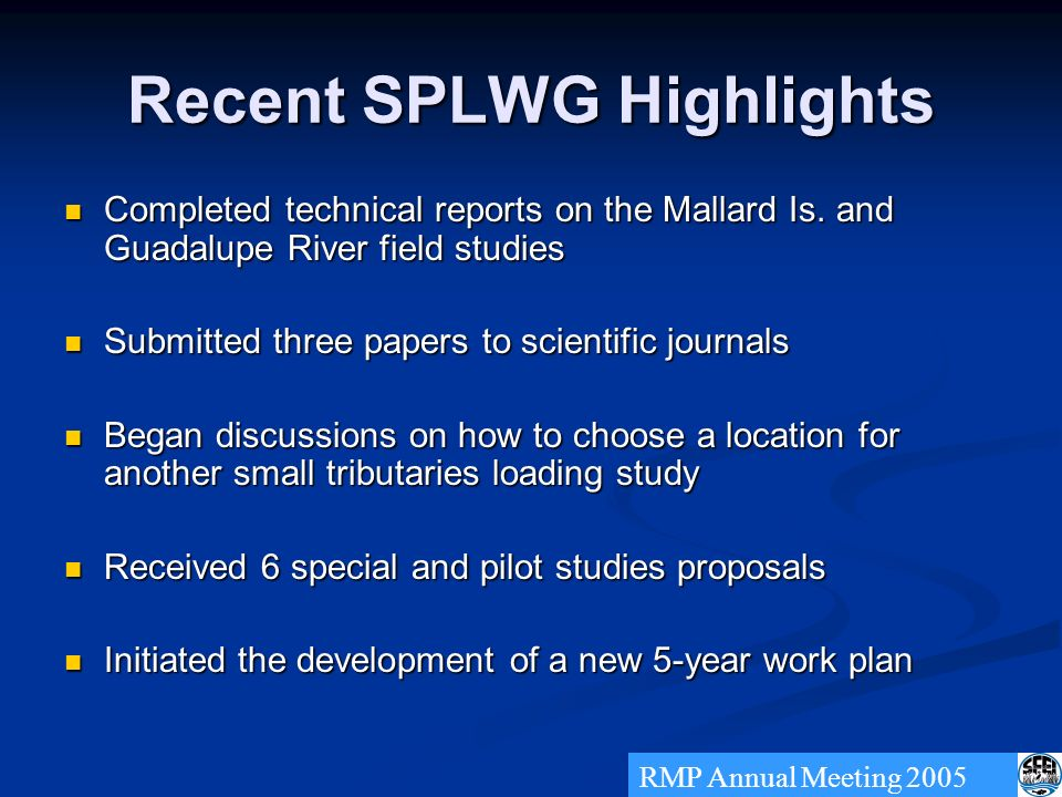 Recent SPLWG Highlights Completed technical reports on the Mallard Is.