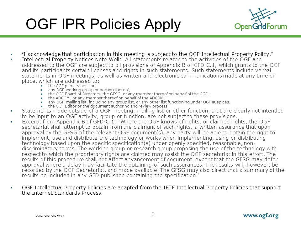 © 2007 Open Grid Forum 3 Outline