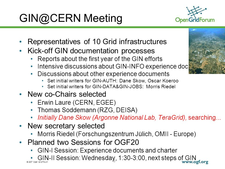 © 2007 Open Grid Forum 19 GIN-AUTH Experience Doc Initial version has been done by Dane Skow Oscar Koeroo is the next with the pen on the document Who else is interested to edit the document after Oscar.