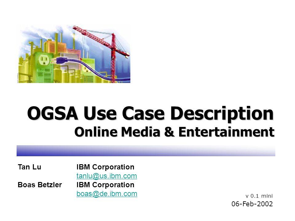 OGSA Use Case Description Online Media & Entertainment v 0.1 mini 06-Feb-2002 Tan LuIBM Corporation tanlu@us.ibm.com Boas BetzlerIBM Corporation boas@de.ibm.com