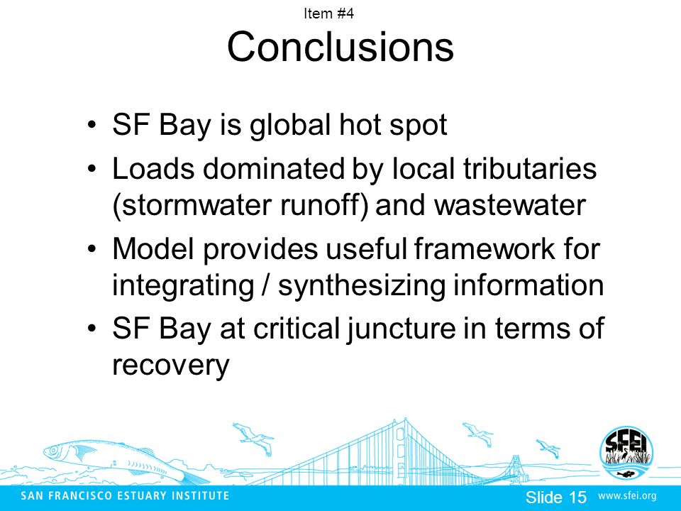 Item #4 Slide 15 Conclusions SF Bay is global hot spot Loads dominated by local tributaries (stormwater runoff) and wastewater Model provides useful framework for integrating / synthesizing information SF Bay at critical juncture in terms of recovery