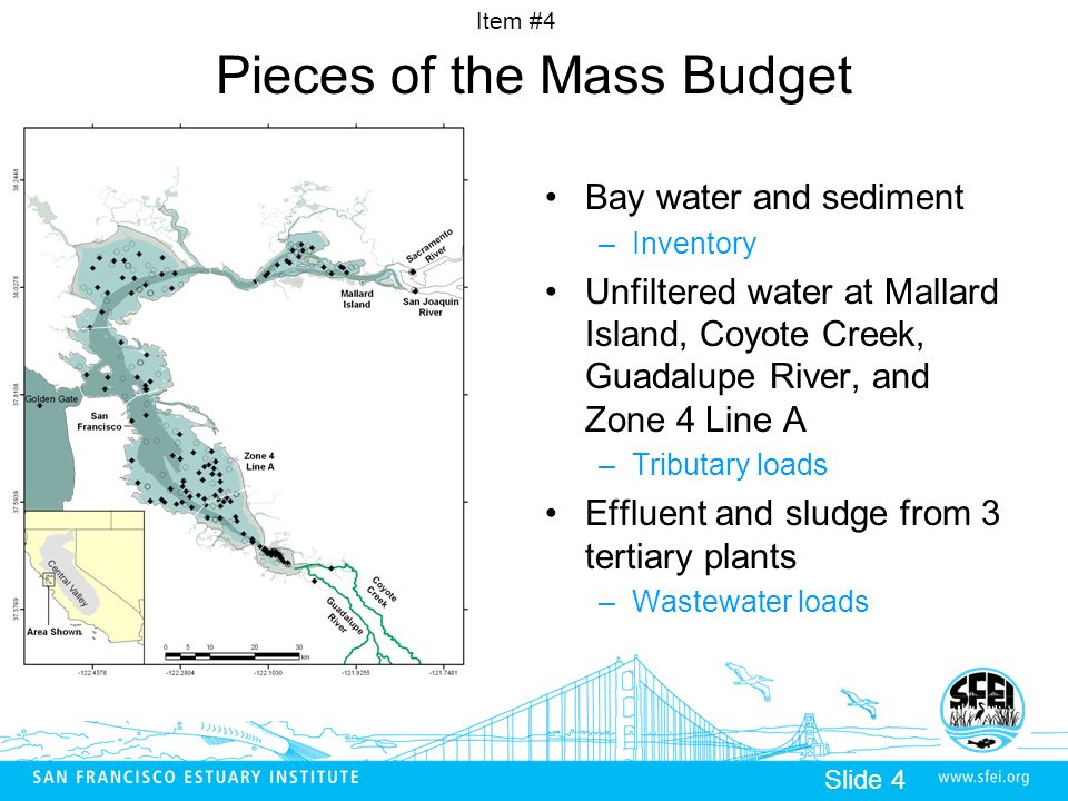 Item #4 Slide 4 Pieces of the Mass Budget Bay water and sediment –Inventory Unfiltered water at Mallard Island, Coyote Creek, Guadalupe River, and Zon