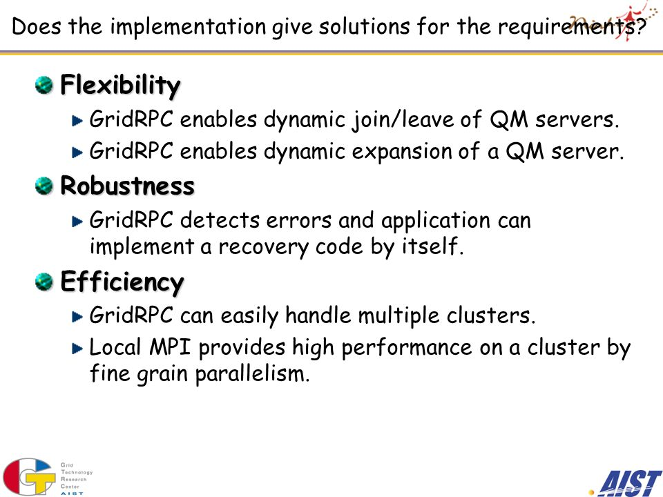 Does the implementation give solutions for the requirements.