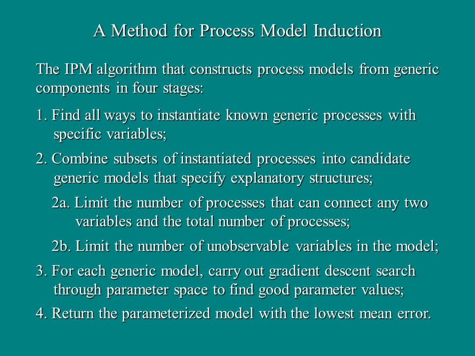 A Method for Process Model Induction 1.