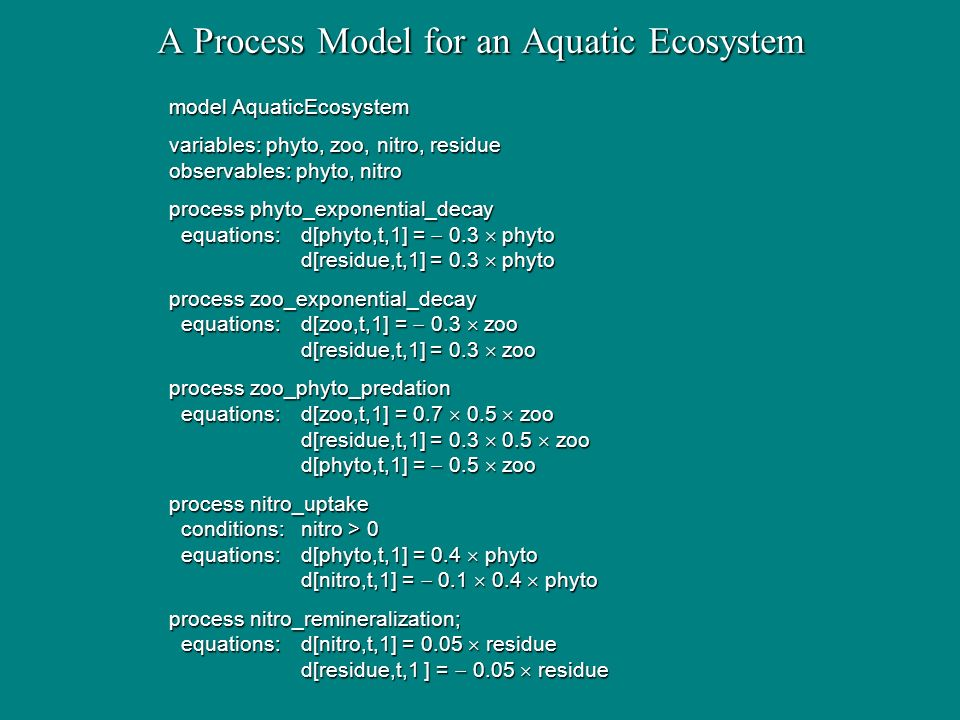Advantages of Quantitative Process Models they embed quantitative relations within qualitative structure; they embed quantitative relations within qualitative structure; that refer to notations and mechanisms familiar to scientists; that refer to notations and mechanisms familiar to scientists; they provide dynamical predictions of changes over time; they provide dynamical predictions of changes over time; they offer causal and explanatory accounts of phenomena; they offer causal and explanatory accounts of phenomena; while retaining the modularity needed to support induction.
